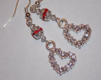Clear Rhinestone Heart Red Rhinestone encrusted Silverplated Bead Earrings