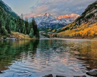 Maroon Bells, maroon bells print, Colorado, Maroon Bells photo, fall, autumn, Colorado print, Colorado fall color, mountains, landscape