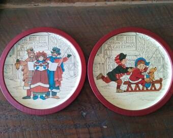 Vintage Tin Christmas Plates - 1980's