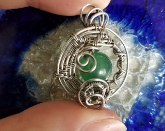 Abstract Green Aventurine Wire Wrapped Pendant