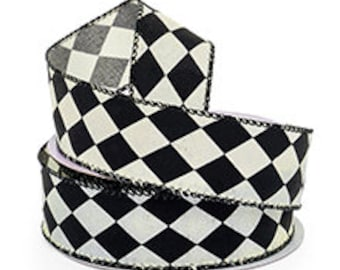 "INSTOCK.....Whimsical Black and White Harlequin Diamond 1.5"" wide Wired Cotton Ribbon....5 yards...."
