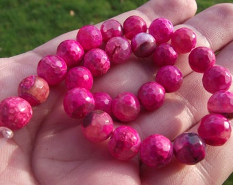 Agate beads 8 MM multicolor pink Dragon veins.