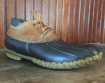 LL Bean Men's 8 N Maine Hunting Shoes Ankle Duck Boots Brown Leather Vintage Made In USA 80s