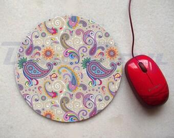 Colorful Paisley Mousepad, Office Mousepad, Computer Mouse Pad, Fabric Mousepad
