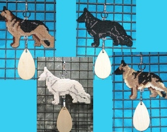 German Shepherd Dog needlepoint art ornament hang anywhere crate tag, Color choice, Magnet option
