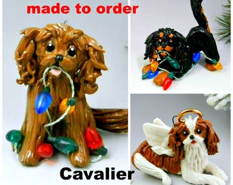 Cavalier King Charles Spaniel Porcelain Christmas Ornament Figurine Made to Order