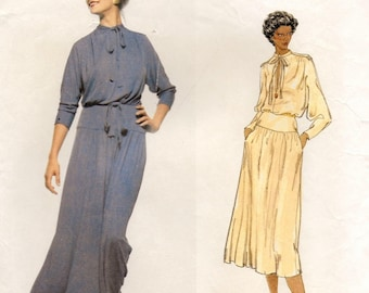 """A Pullover, Gathered Blouson Bodice, Dolman Sleeve, Gathered Yoked Skirt Dress Pattern for Women: Size 8, Bust 31-1/2"""" • Vogue 1834"""