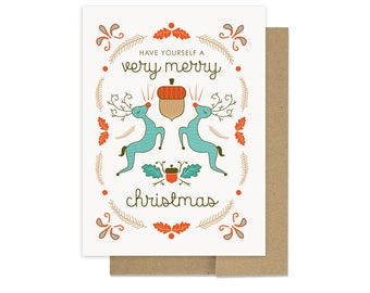Very Merry Christmas Card - Reindeer Holiday Card