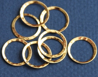 15 pcs of Gold  plated over Brass hammered circle link 16mm