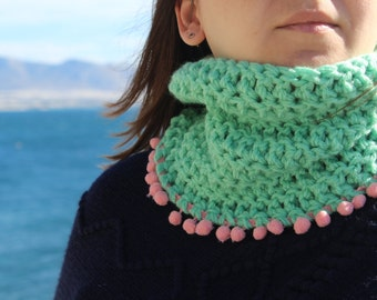 Mint crochet cowl, mint neck warmer, pom pom scarf, mint crochet scarf, seafoam neckwarmer, winter scarf, womens accessory, womens scarf