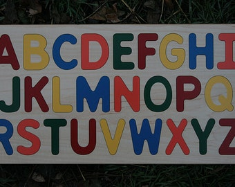Alphabet Puzzle Wooden -  Raised CAPITAL Letters