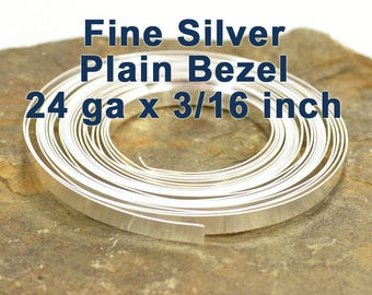 "24ga x 3/16"" Plain Bezel - Fine Silver - Choose Your Length"