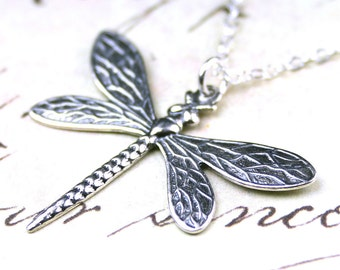 The Dragonfly Pendant - Sterling Silver Dragon Fly Necklace - All Sterling Silver