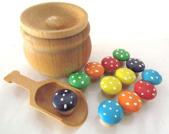 Montessori Inspired Sort and Count Rainbow mushrooms - Pot of mushrooms by MDH Toys