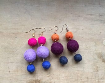 felt ball dangle earrings