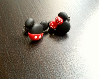 Mickey mouse And Minnie stud or magnetic earrings. Disney inspired. Hight quality. Hypoallergenic stud. Clay jewelry. Geek. Kawaii.
