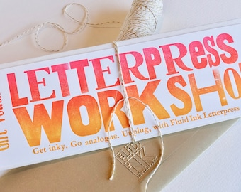 Letterpress workshop voucher. To attend a workshop in Perth WA. Physical voucher to be redeemed by recipient through our ticketing website