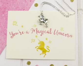 Magical Unicorn Necklace - Silver Unicorn Necklace - Gift for Friend - Unicorn Jewellery - Gift for Her - Charm Necklace - Unicorn Gift
