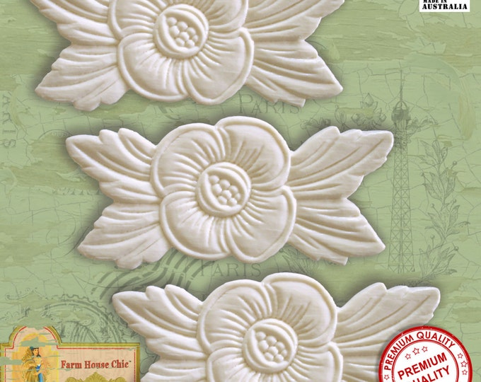 3 x Shabby French Chic Furniture Mouldings, Flowers, Furniture Appliques, Furniture Carvings, Furniture Decorations. Made in Australia