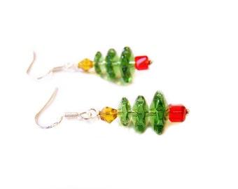 SALE - Swarovski Crystal Christmas Tree Sterling Silver Earrings / Christmas Earrings / Gift for Her / Stocking Stuffer