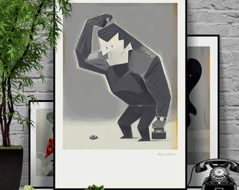 Real Man. Original illustration art poster giclée print signed by Paweł Jońca.