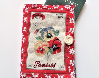 Fabric Passport Cover - Vintage Inspired Travel Wallet - Red Pansies Motif Passport Holder - Gift for Her - Coworker Gift - Traveler Gift