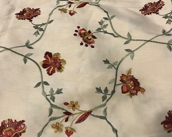 Beautiful embroidered ivory dupioni floral fabric