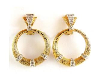 Vintage Panetta Gold Round Doorknocker Hoop Earrings with Rhinestones, Clip On