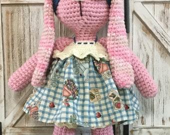 Beautiful handmade crochet amigurumi bunny