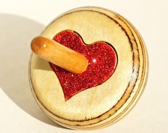 wooden spin top Spinning top - heart spin toy handmade wooden with glitters (dreidel)