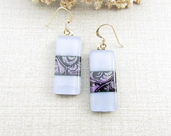 Dichroic Glass Hanging Earrings - Purple Dichroic Glass Earrings - Periwinkle Blue and Purple Fused Glass Dangle Earrings with Gold Ear Wire