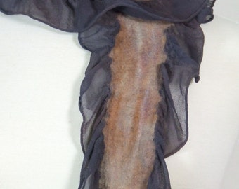 Handfelted Scarf Nuno Felted Ruffle Silk Chiffon Merino Wool