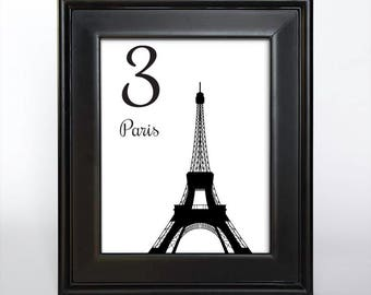 Printable France Landmarks Table Number Wedding Reception Bar Mitzvah Decor Sign Travel International 4x6 5x7 or 8x10 DIY Paris