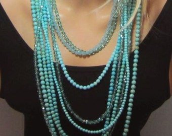 Turquoise Accent Necklace Beaded Light Aqua Fire Polish Czech Beads One Single Strand