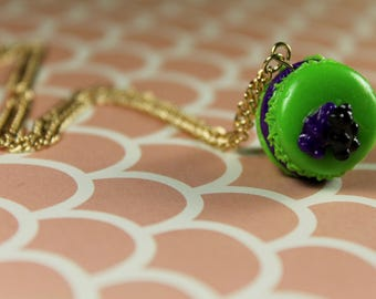 Bright Green Ghoulish Macaroon Topped With Gummy Bears Necklace/ Halloween Dessert Jewelry/ Fall Flair