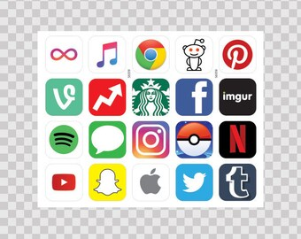 Stickers Decal Various Social Media And Other 80095