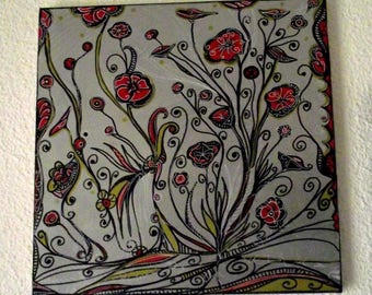 Original painting in my garden there - posca on canvas.