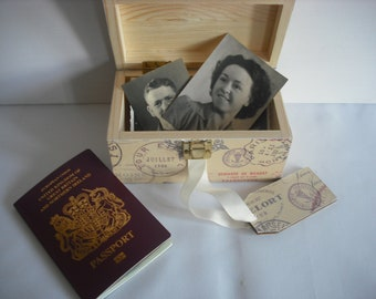The 'Pimlico'  A Storage/Keepsake box with a passport/travel theme....Ideal gift or treat yourself....