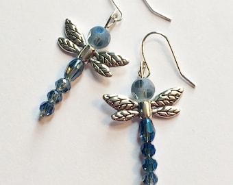 Blue Dragonfly Earrings, Blue, Dragonfly, Dragonfly Earrings, Spring, Nickel Free Earrings