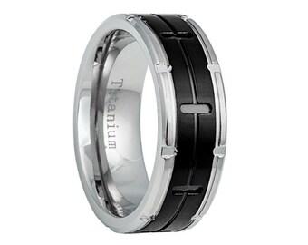 Titanium Wedding Band,Mens Wedding Band,Black Titanium Band,Mens Ring,Custom Made,Rings,Bands,Black Titanium Ring,8mm,Handmade,His Hers,Size