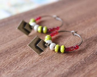 czech glass vintage brass hoop earrings - pink, lime, white