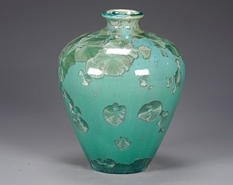 Porcelain Vase - Green - Crystaline Glaze - Hand Made Ceramics - FREE SHIPPING - #B-1-5088