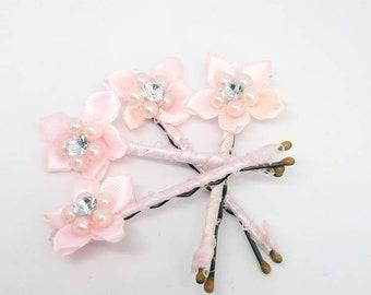 Ribbon and flower Bobby pins, flower girl Bobby pins, flower hair pins