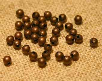 100pcs 2.5mm Metal Bead Antiqued Copper Plated Steel Round