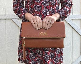 Monogrammed Clutch | Fold Over Clutch | Monogram Fold Over | Faux Leather | Gift for Her | Christmas Gift | Bridesmaid Gift | Lexington