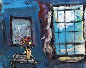 The Window - FRAMED Original Painting 8 X 10 inches - FREE SHIPPING
