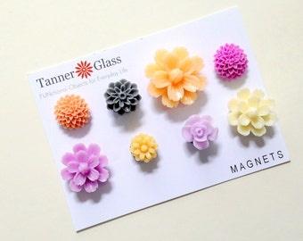 Resin Flower Magnets - Amethyst Colors- Rare Earth Magnets- Set of 8- LAST SET - colorful strong pretty magnets