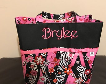 Personalized pink zebra extra large tote bag with lots of pockets