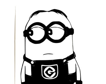 DIY Minion Vinyl Decal, Despicable Me Decal, Minion Dave, Cartoon Decal, Laptop Decal, Tablet Decal, Cellphone Decal, Car Window Decal