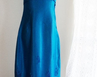 vintage blue ballgown, 60s clothing, vintage 60s dress, blue maxi dress, turquoise evening dress, turquoise gown, embroidered dress, TLC
